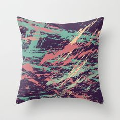 PAINTERLY Throw Pillow by Nika  - $20.00 #society6 #pillow #purple #mint #green #coral #painting #brush #strokes #artistic #mess #design #home #decor #modern #nika #trend #urban #graffitti #creme #bedroom #sofa #couch #bold #pattern