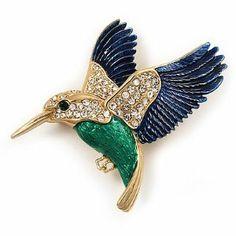 Multicoloured Crystal U0027Hummingbirdu0027 Brooch In Gold Plated Metal Avalaya.  $32.31. Metal Finish