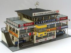 Nurburgring Nice model (1:32) of the old start & finish building, made of cardboard