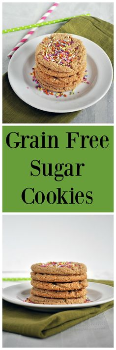 Grain Free Sugar Cookies.  Vegan, gluten free and paleo.  Perfect for cookie exchanges and parties.  No refined sugar and only 6 ingredients!