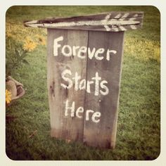 Cute idea for signs to direct people to your house. Can you guys get a bunch of old barn wood and move it to the new house?