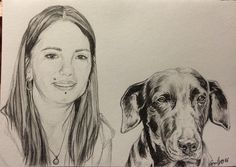 Sketch on A6 pet portrait dog pencil