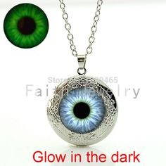 Glass Gem Cat eye Art Picture Necklace Glowing in the dark