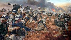 Battle of Karbala - art gallery American Indian Wars, Native American Art, American War, Afghanistan War, Iraq War, Military Art, Military History, Battle Of Karbala, Military Drawings