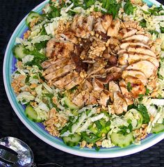 Healthy Asian Cabbage Salad with Grilled Chicken, Shiitake mushrooms, sesame-soy-ginger dressing • Panning The Globe