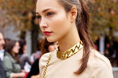C'eline Gold ID Choker Chain Necklace Gold Chain Choker, Chunky Chain Necklaces, Chocker Necklace, Collar Necklace, Gold Chains, Statement Necklaces, Chain Chokers, Big Necklaces, Necklace Charm
