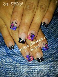 Mariposas Short Nail Designs, Nail Art Designs, Nails Design, Spring Nails, Summer Nails, Fall Nails, Toe Polish, Butterfly Nail, French Tip Nails