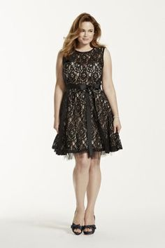 Ultra girlie and super sweet, this little black lace dress is the epitome of class and style!   Sleeveless bodice features all over delicate lace detail over nude lining.  Satin sash on waist helps create a flattering silhouette.  A line skirt adds movement and finishes off the look.  Fully lined. Back zip. Poly/nylon/cotton blend. Professional spot clean. Available in Missy sizes as Style A14209.