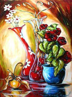 Daniel Vincent Vases of love - Fruit Painting, Dot Painting, Painting For Kids, Watercolor Paintings, Art Floral, Daniel Vincent, Art Fantaisiste, Flower Artwork, Wine Art