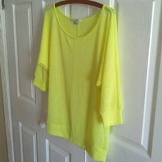 Sheer bright yellow sweater Ideal for layering over tanks!  Super soft and an eye catching color.  Excellent condition. Forever 21 Sweaters