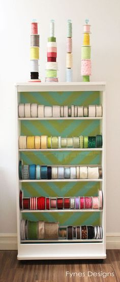 Love this ribbon and twine organization idea. Perfect for a small office or studio space.