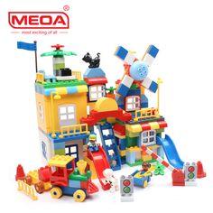 200Pcs Big Bricks City Playground Creative Bricks Toys Child Educational Building Block Bricks Compatible With Duplo