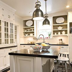 beadboard ceiling - love it! (I also have an embossed beadboard wallpaper you could use as a budget alternative)