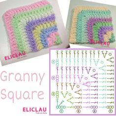 Crochet Collar Pattern, Crochet Motif Patterns, Crochet Diagram, Crochet Designs, Crochet Stitches, Diy Crochet Granny Square, Motifs Granny Square, Crochet Squares, Crochet Towel