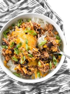 """Cooker Taco Chicken Bowls are the ultimate """"set it and forget it"""" easy weeknight meal that the whole family will love. Slow Cooker Taco Chicken Bowls are the ultimate """"set it and forget it"""" easy weeknight meal that the whole family will love. Slow Cooker Tacos, Slow Cooker Chicken, Slow Cooker Recipes, Crockpot Recipes, Chicken Recipes, Cooking Recipes, Healthy Recipes, Cheap Recipes, Delicious Recipes"""