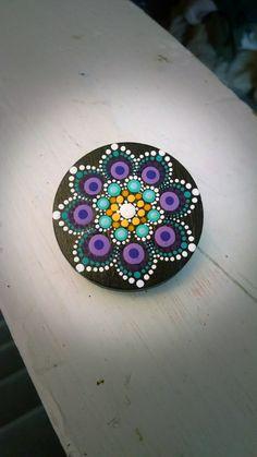 Hand Painted Slate Stone Colorful Dot Art Painted Rock ~ Magnetic Wood Clip ~ Turquoise Purple Flower ~ Mandala Design ~ Home Decor Mini Art