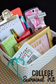 Gift baskets are a great way to create a personalized gift for someone you love. Gift Baskets are always SO fun to receive and give! Unique Graduation Gifts, High School Graduation Gifts, College Graduation Gifts, College Gifts, Grad Gifts, Teacher Gifts, Diy Gifts, Graduation Gift Baskets, Roommate Gifts