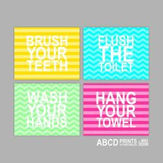 Kids bathroom prints. Brush Flush Wash Hang. Bathroom by MiraDoson, $44.00 or a plain theme with these then pick paint color?? Kids bathroom