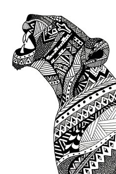 Agathe Altwegg - lioness illustration Captures the lion and her natural cultural environment as well. Great art and imagination. Black Pen Drawing, Doodle Art Drawing, Zentangle Drawings, Zentangles, Zentangle Animal, Zen Doodle, Zentangle Patterns, Mandala Art, Mandala Drawing