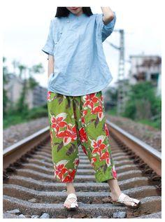 Ladylike Flowers Printed Baggy Trousers Linen Comfortable Wide Leg Pants    #flowers #green #print #baggy #linen #summer #pants #trousers #woman