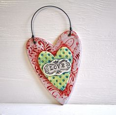 Folk Art Wall Heart Valentine Wall Hanging Heart by chARiTyelise, $24.00