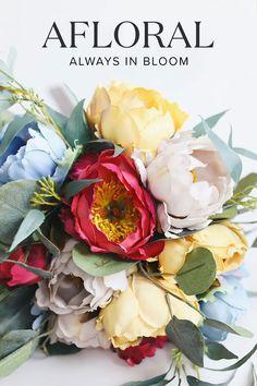 TYEERDEC Artificial Peony Flowers 2 Bundles Artificial Peony Silk Flowers Bouque