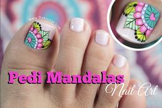 New fails art tutorial link Ideas Mani Pedi, Manicure And Pedicure, Hair And Nails, My Nails, Cute Pedicures, Mandala Nails, Feet Nails, Toe Nail Designs, Toenails