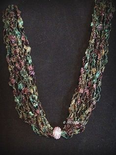 Ladder Yarn Necklace Green Pink Crystal Pave Bead Cascade Crochet Jewelry by Moomettes, $16.00