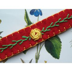 Yellow Rose, Red Felt Bracelet