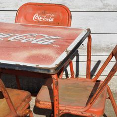 coca cola chairs and tables folding chair materials furnishings vintage table 4