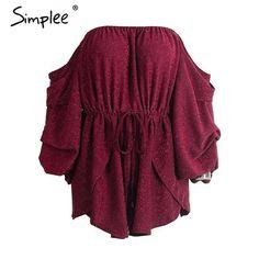 Off Shoulder Red Jumpsuit Romper Summer Long Sleeve Elastic Playsuit Causal summer