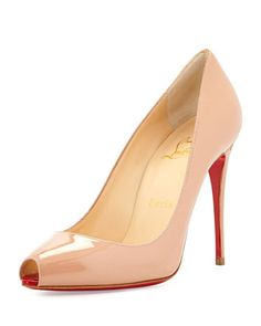 Patent Mini Peep-Toe Red Sole Pump, Nude by Christian Louboutin at Neiman Marcus.