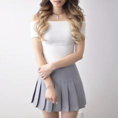 Pleated Tennis Skirt - Grey