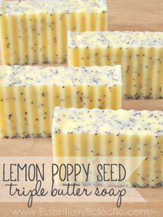 Lemon Poppy Seed Triple Butter Soap | www.EssentiallyEclectic.com | These lush lemon poppy seed soap bars are made with cocoa, shea & mango butters!