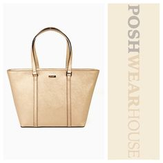 Metallic Rose Gold Dual Strap Tote Bag w/ Zipper The Dally • Zip closure • 3 interior pockets, one with a zipper   Like what you see? Follow me!  On PM @PoshWearHouse  On IG www.instagram.com/PoshWearHouse  On FB www.facebook.com/PoshWearhouse kate spade Bags Totes