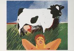 Postkaarten    Dutch Farmer's Wife nr. 1 (detail), 1975    Jan Cremer    A4676    Koeien, Kunst, Postkaarten, Mensen, Kinderen, Dieren, Vrouwen, Grafiek,