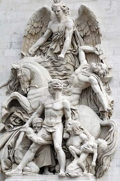 OK...its a beautiful statue. I agree. But what's up with the coward clinging onto the naked dude's leg? ...Arc de Triomphe detail, Paris VIII