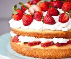 I would serve a cake like this..fresh cream and strawberries.