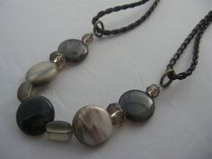 Handmade Leather and Polished Stone Necklace with Lobster Clasp and Extender Chain Free Shipping