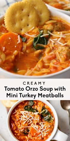 Deliciously creamy orzo tomato soup with protein-packed mini turkey meatballs simmered in a flavorful coconut milk broth. This satisfying, healthy turkey meatball tomato orzo soup packs in veggies from spinach and is delicious with a touch of basil pesto! This recipe is in partnership with Shady Brook Farms. #sponsored #soup #meatballs #healthydinner #mealprep Sweet Potato Recipes Healthy, Healthy Recipe Videos, Healthy Recipes, Dinner Ideas, Dinner Recipes, Orzo Soup, Cooking Stuff, Chicken Meal Prep, Turkey Meatballs