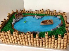 Fishing pond cake with pretty blue water. Going to add beavers to. Informations About Fishing pond Beautiful Cakes, Amazing Cakes, Pond Cake, Fish Cake Birthday, Fishing Birthday Cakes, Zoo Birthday, Birthday Cupcakes, Happy Birthday, Birthday Cake Decorating