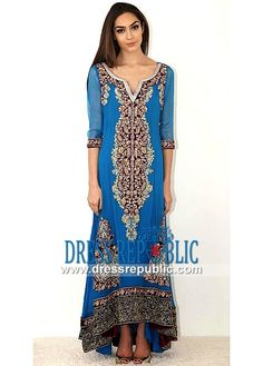 Azure Blue Round Neck with a Slit Long Shirt Pakistani Party Wear Dresses 2014 by Rani Emaan