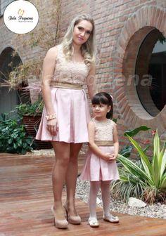Vestidos Mãe e Filha Rosa e Dourado