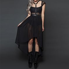 Fall From Grace halter long chiffon skirt with harness #elegant #gothic #edgy www.attitudeholland.nl