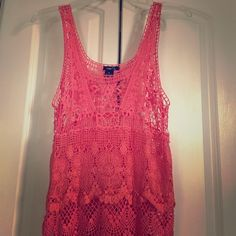 Pink and Coral crochet Boho Tank Delicate crochet top. Never worn! Rue 21 Tops Tank Tops