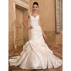 A-line Sweetheart Chapel Train Taffeta Wedding Dress – #00426611LIB