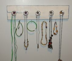 Crafty Diva: Cottage White and Blue Necklace Holder