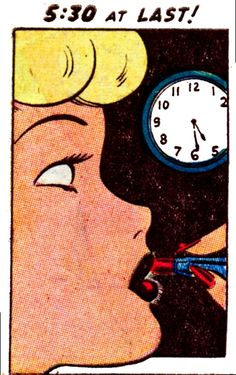 "Comic Girls say..""5:30 at last!""   #Vintage #Comic #Pop Art"