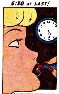 "Comic Girls say..""5:30 at last!""   #Vintage #Comic #Pop Art"
