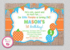 Fall Burlap Pumpkin Birthday Invitation  by TheTrendyButterfly #burlap #pumpkin #polkadot #1stbirthday #first